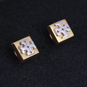 Tory Burch Logo Gold Square Glossy Earrings